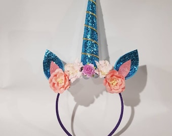 Blue unicorn head piece