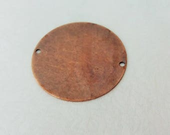 5 Pcs Copper Plated  32 mm Stamping Blanks Disc ( 2 Holes ) Thickness Of 0.45 mm - 25 Gauge