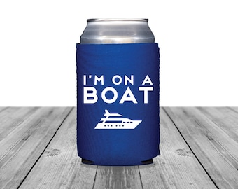 Neoprene Can Coolers, Personalized Coolies, Wedding Can Huggers, Custom, Beach Wedding, Boat Can Coolers, I'm On A Boat, Nautical, 1336