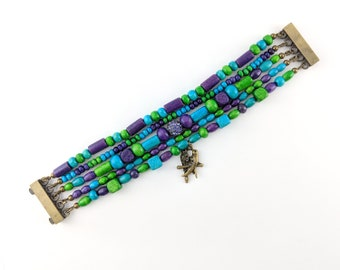 Hope Multi Strand Bracelet - Boho, hippie, gypsy, colorful, beaded, exclusive, brazilian - Mixed colors (Purple/Blue/Green)