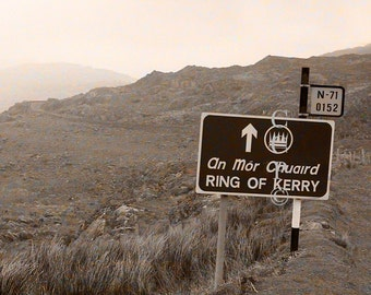 Irish Road Sign, Ring of Kerry, Ireland Photography, Sepia Photo, Landscape Photo, Nature Print, Irish Decor, Wall Decor, Apartment Photo