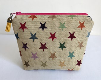 Cosmetic Bag, Makeup Bag, Zipper Pouch, Tapestry Makeup Bag, Stars, Tapestry, Star Makeup Bag, Star Cosmetic Bag