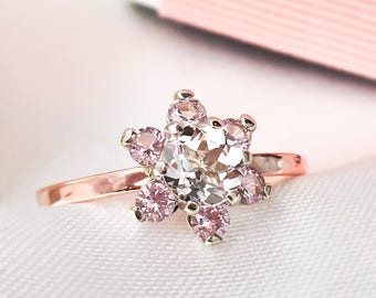 Morganite Cluster ring, Herkimer Diamond ring,  Diamond Flower Cluster gold ring, 9ct, 14ct, 18ct solid Gold ring, Handcrafted ring.