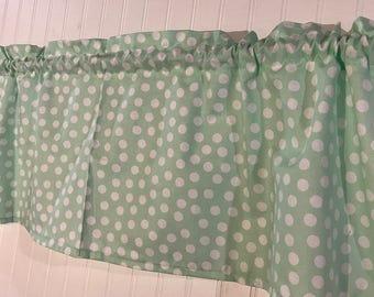 Mint green and white polka dot Curtain Valance