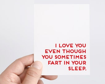 Funny Valentines Day Card | Honest Valentine | Fart In Sleep | Funny Anniversary Card | Husband | Boyfriend | Valentines Day Gift For Him