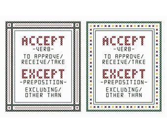 Word Wise - Set of Thirty-Six Original Cross Stitch Charts | Commonly Confused Words