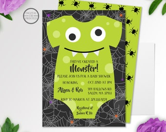 Monster Baby Shower Invitation Boy Invitation Monster Shower - Halloween baby shower invitations