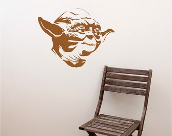 Yoda Decal Sticker, Star Wars Yoda Wall Decal, Star Wars Wall Mural, Yoda Wall Vinyl, Removable Star Wars Wall Vinyl Decal Art, g85