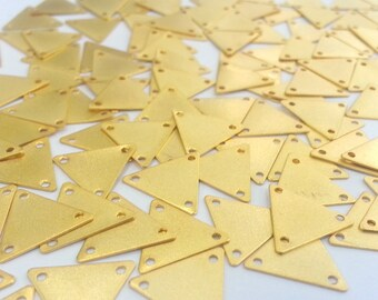 10 Pcs (14 mm)  Triangle Charms, Gold Plated Brass  G2298