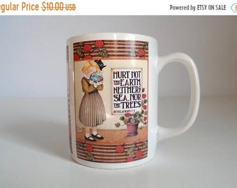 """Sale - Vintage ME Mary Engelbreit """"Hurt Not The Earth Neither The Sea, Nor The Trees"""" Bible Verse Coffee Mug - Revelations 7:3"""