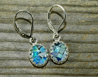 Mosaic Opal 10 x 8 MM Oval Cabochon Cut Sterling Silver Leverback Earrings