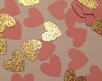 Pink and Gold Confetti-Table Scatter Heart Confetti- Bridal Shower Decor- Baby Shower Decor- Wedding Decor- Pink and Gold Wedding Decor