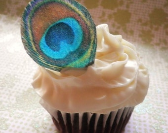 Edible Peacock Eye Feathers - 1 dozen - Cake & Cupcake toppers - Food Decorations