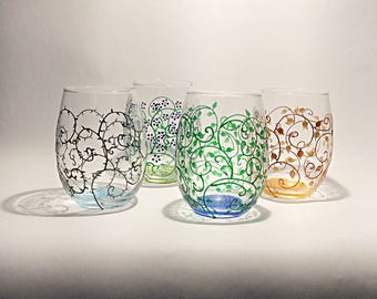 Four Seasons stemless wine glasses hand painted