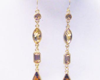 Gold/Amber Crystal in Gold Plated Bezel Dangle Earrings