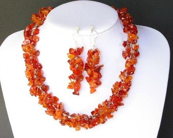 Set of Red Carnelian Chip Beads Chained Dangle NSCN1439