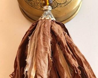 Sari Silk Tassel Necklace-Brown Ombre-Boho Necklace