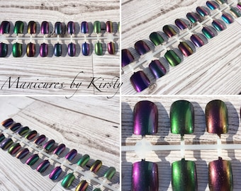 Assorted indie polish colour shifting duochrome and multichrome re-usable press-on nails squoval shape