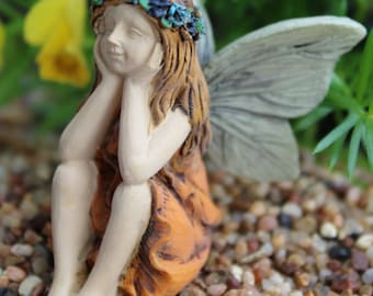 Little Girl Fairy Figurine In Orange Skirt, Miniature Sitting Fairy Statue  Fairy Garden Supply,