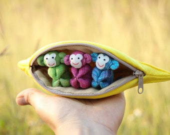 SET 100 - 3 Monkeys in banana purse, Stuffed monkey, Monkey plush toy, Monkey fabric, Home decor, Children's gift