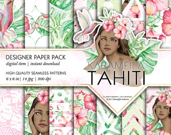Hawaii Paper Pack Tropical Birds Patterns Romantic Tahitian Dark-Skinned Girl Watercolor Backgrounds Hibiscus Hummingbird Planner Supplies