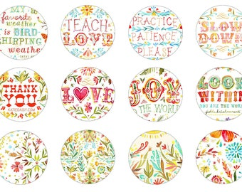 NN - Cute words 12 Digital Images/designs for 30/25/20/18/16/15/14/12/10/8 mm cabochon round/oval