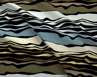 Geological Layers Fabric - Ruapehu Layers By Pookeek - Geology Abstract Stripes Earth Layers Dirt Cotton Fabric By The Yard With Spoonflower