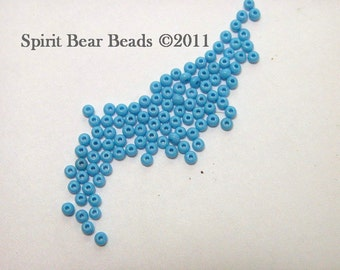 Opaque Dark Turquoise Blue Czech Seed Beads size 11/0 lot of 20 grams