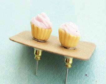 pink cupcake stud earrings- miniature food jewelry, food earrings, cupcake jewelry