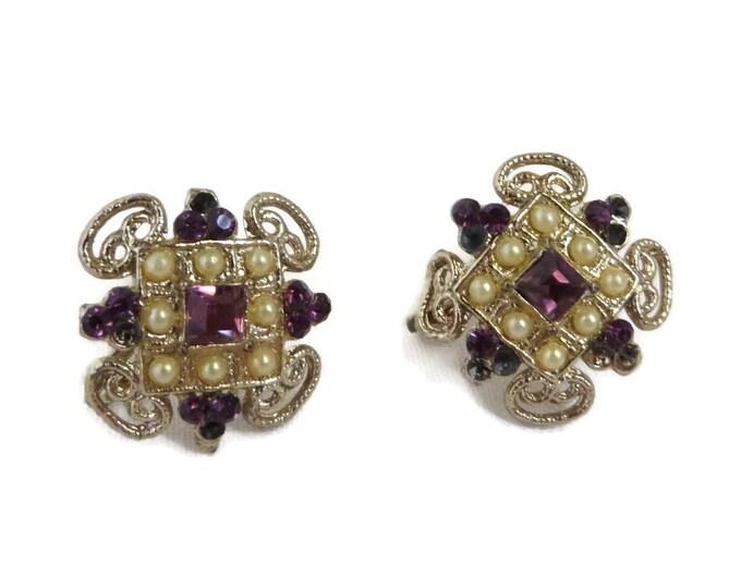 Coro Rhinestone Earrings | Vintage Faux Pearl & Purple Rhinestone Screwback Earrings - Missing Rhinestones