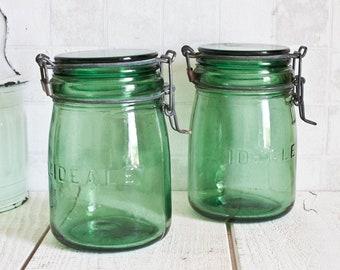 "Set of 2 Authentic ""L'ideale"" Vintage French 0.75L Green Glass Jars    Antique Glass Preserving Jar - Vintage Kitchen Storage"