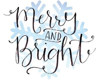 Greeting Card *DIGITAL PRINT* Merry Bright Christmas