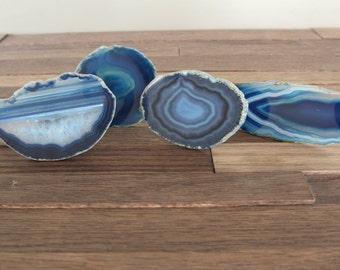 Agate Slice Drawer Pulls / MULTIPLE Colors Agate Cabinet Knobs / Drawer Knobs / Blue / Natural / Teal