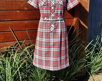 Vintage Bright Check Tartan Tunic Dress with Belt