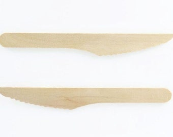 WOOD KNIFE CUTLERY (Set of 25) - Natural Wood Knives (16.5cm)