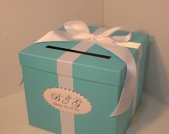 Wedding  Card Box Blue Gift Card Box Money Box  Holder-Customize/made to order (10x10x9)