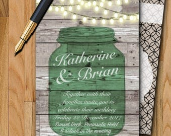 Wedding Digital or Physical Invitation - Green mason jar with string lights and wooden background DIGITAL or PHYSICAL copy