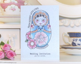 From Russia with Love Russian Doll handmade wedding invitations