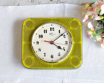 Ceramic Clock SCHATZ - West Germany / German Handmade Wall Kitchen Clock / Beautiful Retro Handmade Ceramic Clock / Germany /70s /