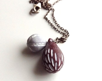 Carved necklace in Fig, grey, plum necklace, hand carved necklace, art jewelry