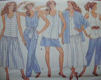 vintage 1980s Butterick sewing pattern 4125 Misses jacket top dress shorts pants and sash  6-8-10 UNCUT
