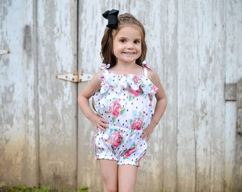 Girls Romper - Romper - Sunsuit - Ruffle Romper - Girls Outfit - Toddler Romper - Playsuit - Toddler Outfit - Girls Sunsuit - Baby Romper