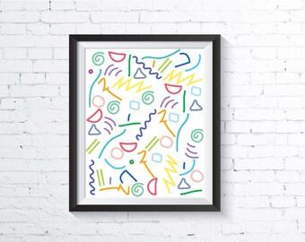 90s Art Print, printable, downloadable, colorful