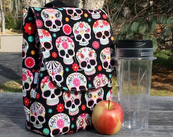 Sugar Skulls Lunch Bag Insulated Reusable Lunch Box made to order