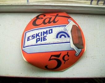 Vintage 1920s Eskimo Pie Sign Decal Sticker 7 Inch Ice Cream Sign
