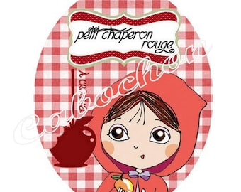 1 cabochon 30mm x 40mm glass Red Riding Hood, Wolf, fairy tale