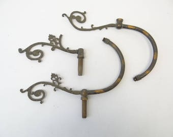 Antique Old Copper Metal Gas Lamp Arms Lighting Parts Light Hardware Decorative Ornate