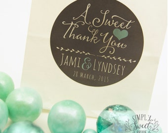 "personalized wedding label. Color of Choice. Size 2"" Round. A sweet thank you. Lyndsay  collection, CHALKBOARD sticker. Custom favor sticker"