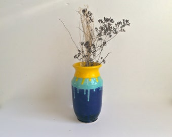 Drip Glaze Ceramic Vase in Yellow, Turquoise and Blue, Colorful Flower Vase