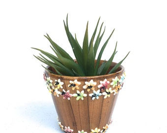 Vintage  Floral Flower Pot, Made in Italy,